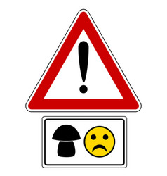 attention sign with mushroom and smiley vector image