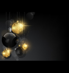 background with black and golden baubles vector image