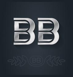 Bb - initials or silver logo b and b - metallic vector