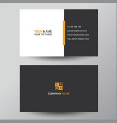 Black yellow business card design template vector