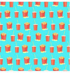 bright pattern with cola and french fries on blue vector image