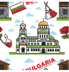 bulgaria travel destination seamless pattern vector image