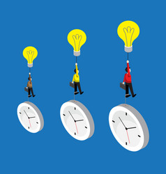 businessman flying by bulb idea and weight with vector image