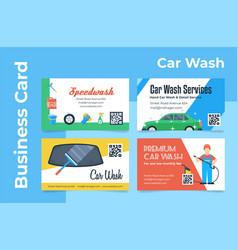 Car wash service business card design set vector