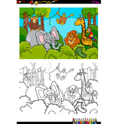 cartoon wild animal characters coloring book vector image