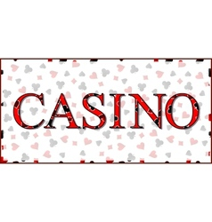 Casino Banner with Playing Cards Suits Background vector image