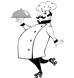 Chef on roller skates vector