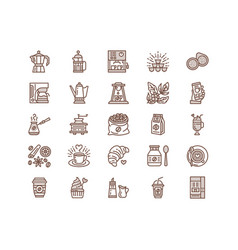 Coffee making equipment line icons tools vector