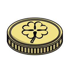 Coin with clover icon vector