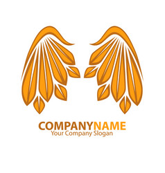 Company name emblem with golden angel wings web vector