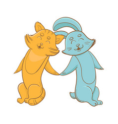 cute bunny and kitty holding hands together vector image