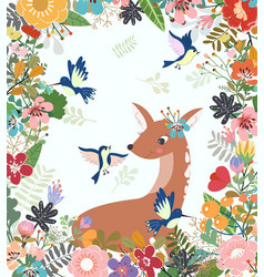 cute deer and bird in colorful flower and leaf vector image