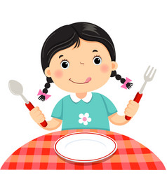 Cute girl holding a spoon and fork with empty vector
