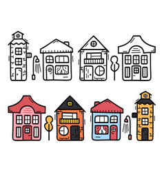decorative scandinavian town house sign doodle vector image