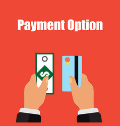 different types payment in cash and card vector image