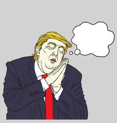 donald trump sleeping cartoon caricature vector image