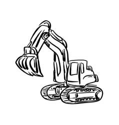 Doodle excavator backhoe sketch vector