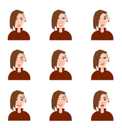 Female avatar with emotions cartoon style vector
