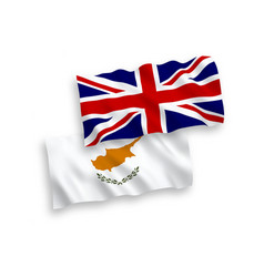 Flags great britain and cyprus on a white vector