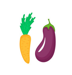 flat eggplant and carrot icon isolated on vector image