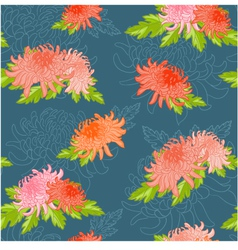 Floral seamless background with chrysanthem vector image