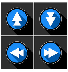 four white blue arrows - black shadows vector image