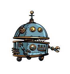 Funny round robot pop art retro cyberpunk vector