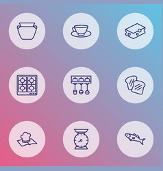 gastronomy icons line style set with cleaning vector image