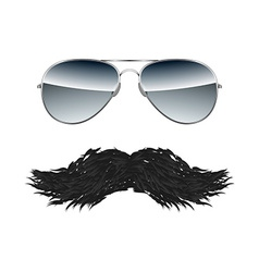 Glasses with Mustache isolated on white background vector image