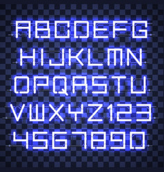 glowing blue neon alphabet vector image vector image