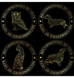Golden stamps recommended by vets vector