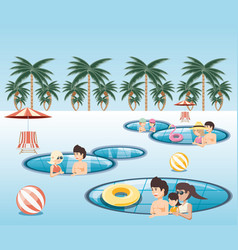 group of people in the pool icon vector image