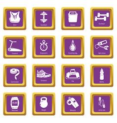 gym sport icons set purple square vector image