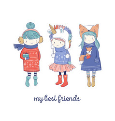 Hand drawn beautiful cute little winter girls vector
