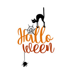 Happy halloween party title logo template spider vector