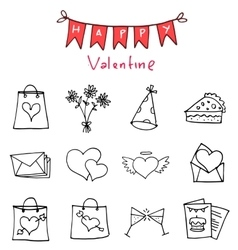 Happy Valentine Day icons art vector image