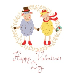 Happy valentines day with cute sheeps couple vector image