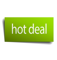 Hot deal green paper sign isolated on white vector