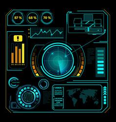 hud interface radar composition vector image