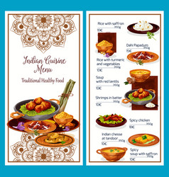Indian cuisine menu with traditional healthy food vector
