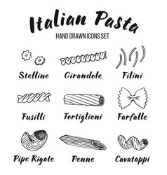 Italian pasta shapes and names set vector