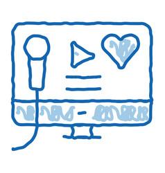 Karaoke on computer doodle icon hand drawn vector