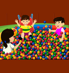 kids playing in ball pool vector image