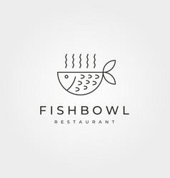 line art fish bowl icon logo design restaurant vector image