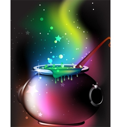 Magic cauldron with a potion vector image