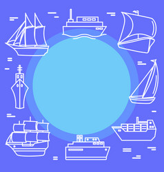 marine travel concept banner with ship icons in vector image