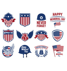 Memorial day set emblems with american flag vector