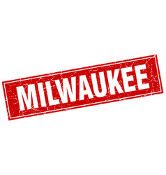 Milwaukee red square grunge vintage isolated stamp vector