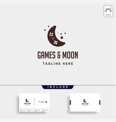 Moon game logo design template icon element vector