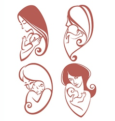 Mother and baby collection vector